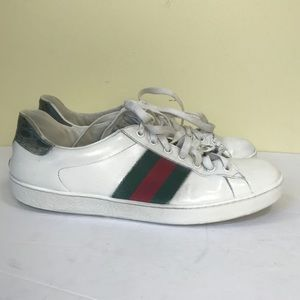 Gucci Ace Leather Sneakers Web Stripes Red Green